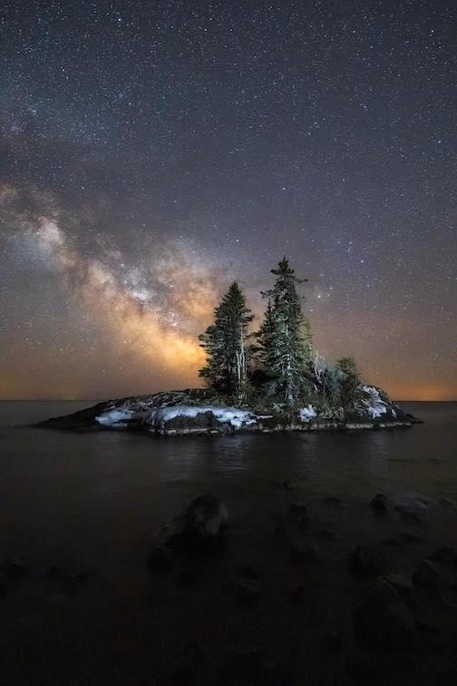 The Milky Way and Lake Island by John Keefover.