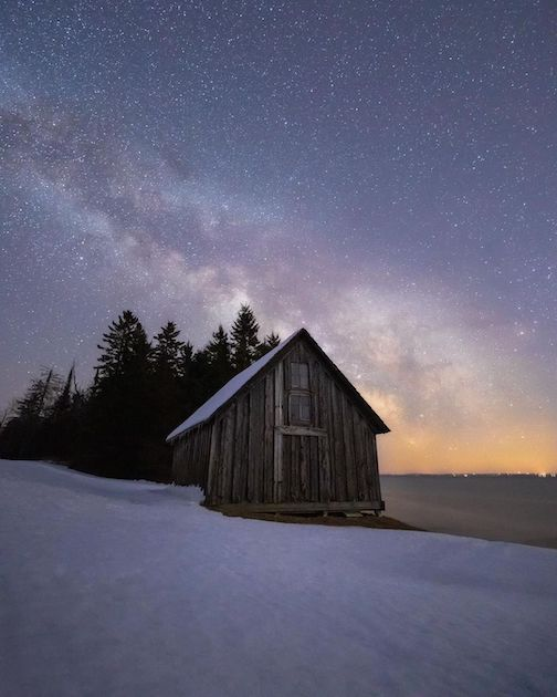 The old fish house at Stoney Point and early season Milky Way by John Keefover.