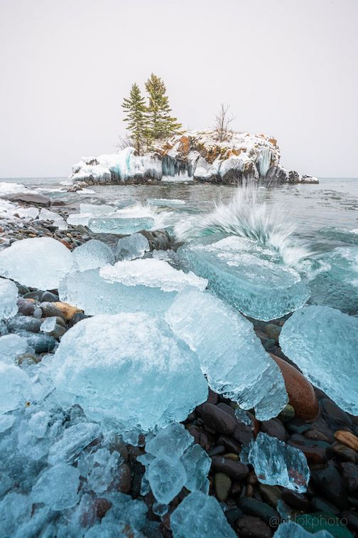 Beautiful blue ice crashed into the show at Hollow Rock by Nathan Klok.