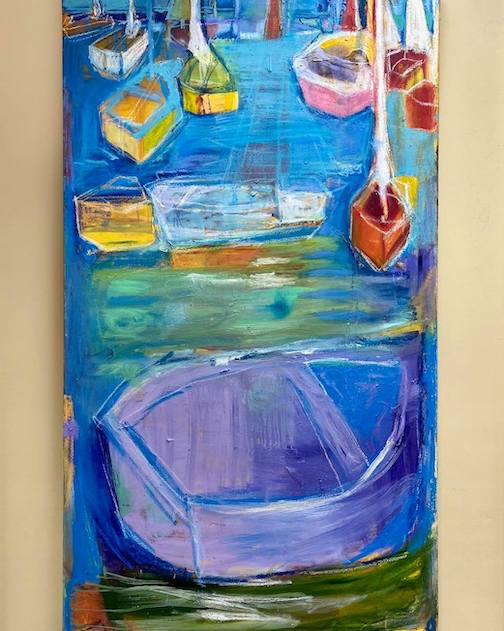 My Father's Boats, acrylic's, by Patricia Canelake. The painting is at the Karlyn Yellowbird Gallery in Washburn, Wis.