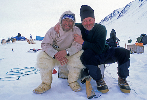 Layne Kennedy poses with Usuarkak Henson,m the grandson of polar explorer Matthew Henson while he was on assignment for a story in Greenland.
