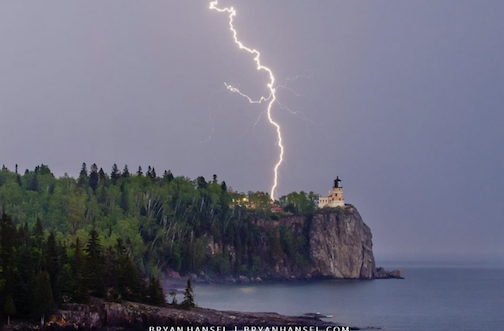 Lightning at Split Rock. Photograph by Bryan Hansel. Hansel is exhibiting his photographs at Split Rock this month and will be at the center to talk  about his work and approach to photography on Friday, April 9, from 1–4 p.m.