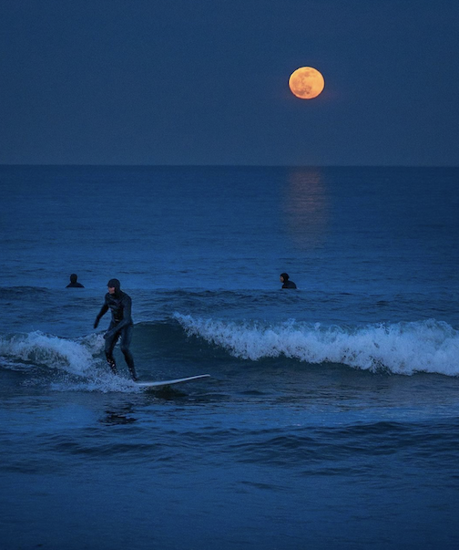 The Superior Surf Squad enjoying the full moon by Dominic Ricci.