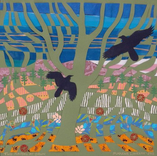 "Two Ravens at Dawn, paper weaving by Maxene Linehan is one of the pieces in the ""Voices of Spring"" exhibit at the Johnson Heritage Post"