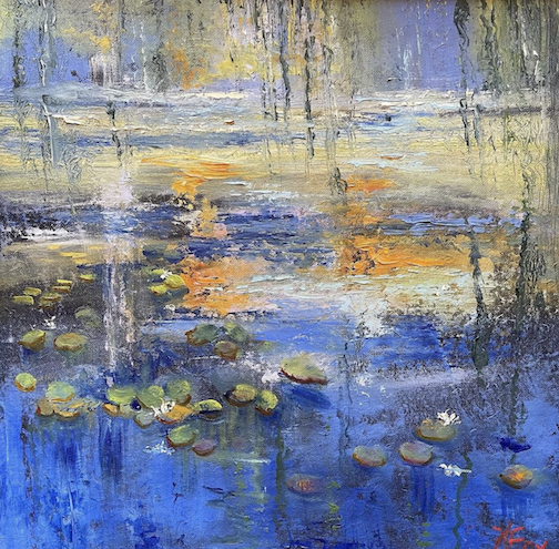 Attempting to memorialize a visit to the Musée L'Orangeries by painting Monet's Water Lilies by Kathy Weinberg.
