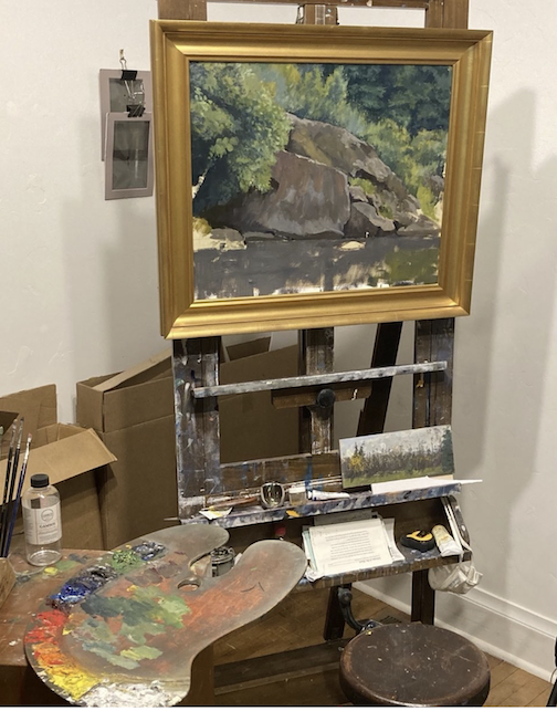 "Work in progress by Neil Sherman. Oil. Sherman says he often puts a frame around a painting that's about 2/3 completed. ""It gives the painting a bit of confidence and give me an indication of the direction the work is moving,"" he writes."
