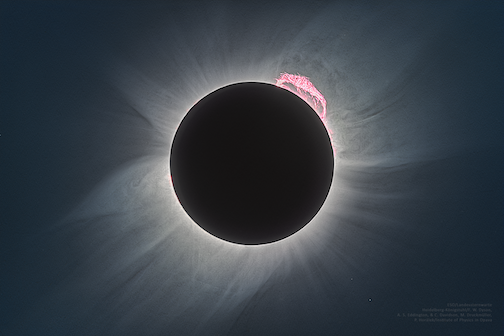 A full eclipse of the sun and a super flare, the reconstructed image from an eclipse in 1919 which proved Einstein's Theory of Relavitiy. To read all about it, click here.