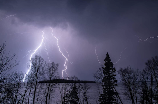 Lightning over Pete's island  and Grand Portage Bay.