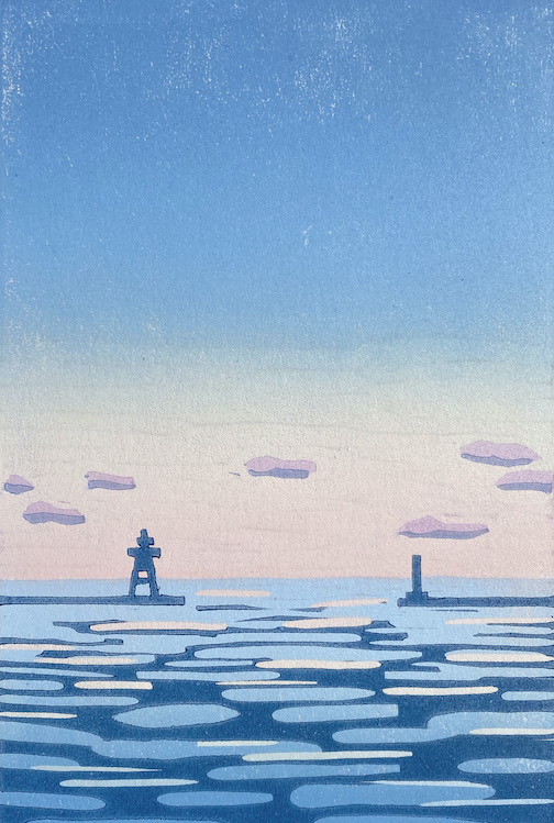 Harbor, woodblock print by Nan Onkka is one of the pieces currently on view at the Johnson Heritage Post Gallery.