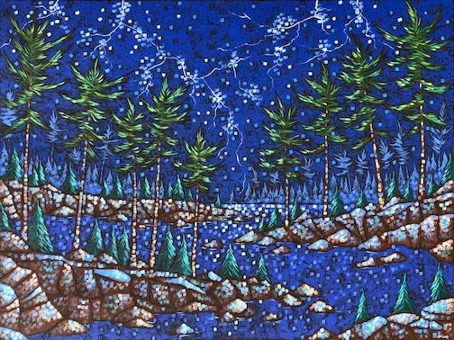 Lightning Across the Lake, acrylic, by Aaron Kloss. Kloss exhibits his work at Sivertson Gallery.