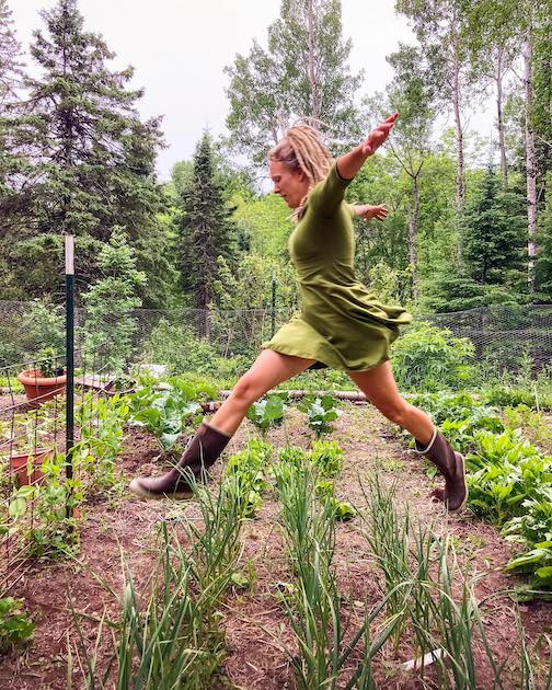 """Amymarie Schmidt: """"Even as I sleep, the bean seeds sprout, like stars emerging in a sky of soil...""""  excerpt from her poem. Photo by Andy Schmidt."""