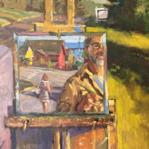 Self-Portrait by David Gilsvik is one of the paintings on exhibit at the Cedar Coffee House in Two Harbors.