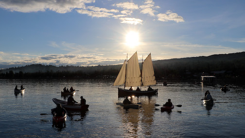 The Small Craft Takeover ilast weekend featured lots of wooden boats on the harbor. Photo by Joe Beres.