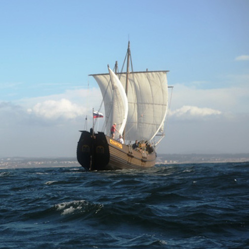 The Russian tall ship, The Pilgrim, will be docked at North House Folk School for the Wooden Boat Show this weekend.