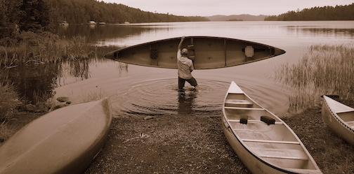 Canoe on West Bearskin by Ann Rinkenberger.
