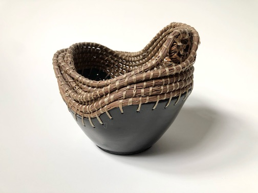 Blackware basket by Coreena Affleck. The potter will hold a community Slackware firing at the Art Colony Aug. 20. To learn more, click here.