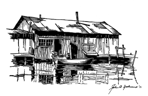 Erickson Fishhouse, print, by John A. Spelman III, is one of the pieces on exhibit at the Johnson Heritage Post.