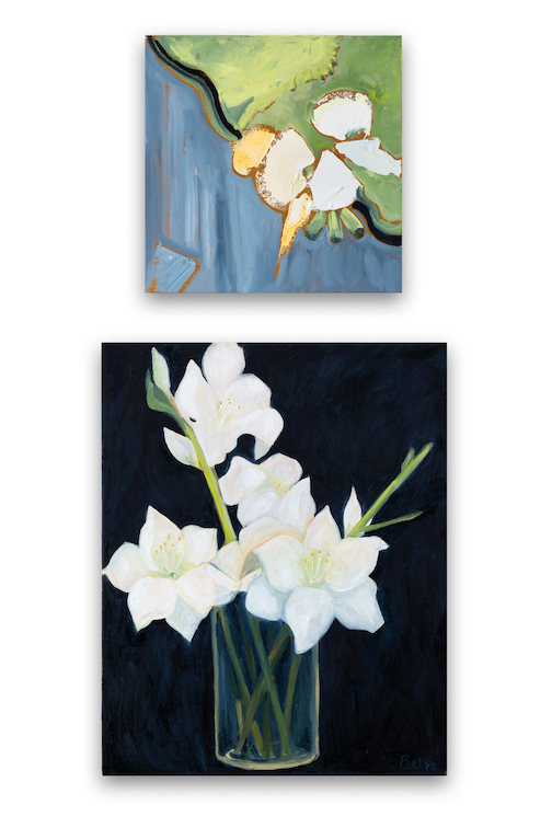 Amaryllis bu Marcia Cushmore, top, and Hazel Belvo, below. One of the panels that will be in their upcoming show at the Johnson Heritage Post.