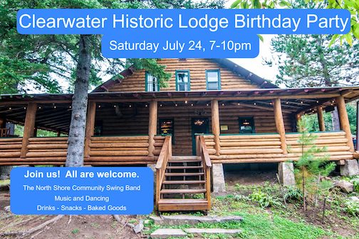 The Clearwater Historic Lodge will hold its annual birthday party featuring dancing and music by the North Shore Community Swing Band on Saturday.