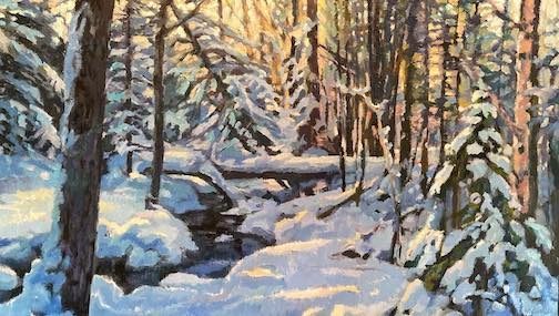 """An here's a painting that David Gilsvik just finished. He called it Winter Woods. """"My favorite season."""""""