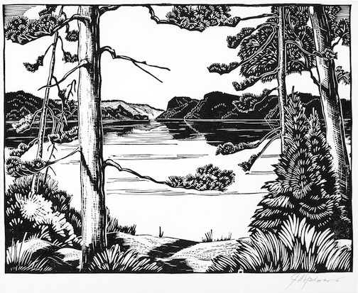Clearwater Lake, print, by John A. Spelman, one of many prints and drawings on exhibit at the Johnson Heritage Post.