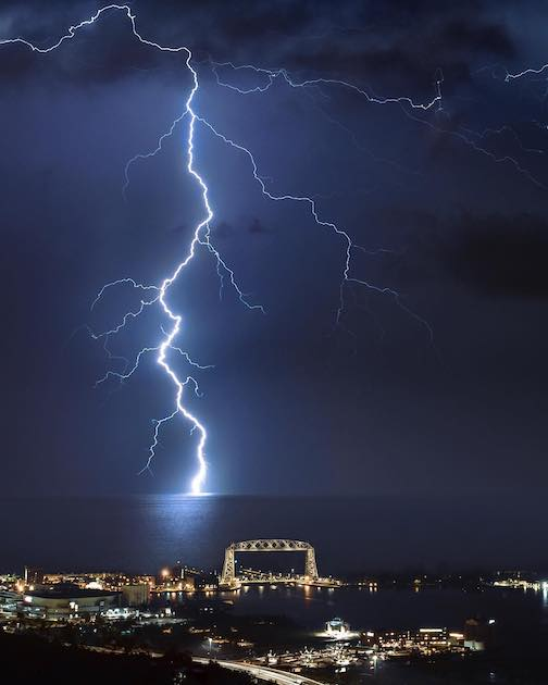 Lightning strike! I was lucky enough to get this one. Photo by Preston Buechler.