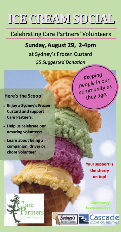 Care Partners Ice Cream Social will be held at Sydney's from