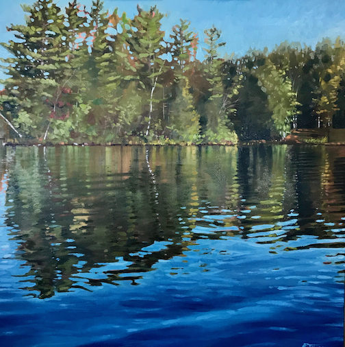 Water Reflection 8 by Reid Thorpe is one of the paintings in the new exhibit at the Johnson Heritage Post;
