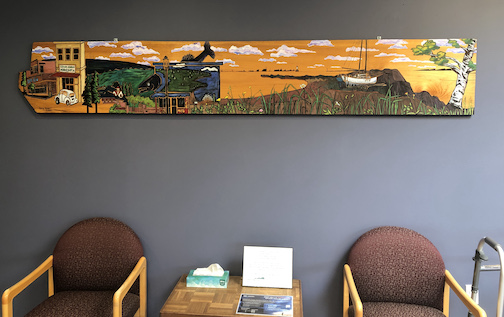 Betsy Bowen was commissioned by the staff at the Sawtooth Mountain Clinic to create a large work about Grand Marais to honor Rita Plourde, who recently retired from being the CEO of Sawtooth Mountain Clinic, where she served for 38 years. The painting is exhibited in the lobby of the clinic.