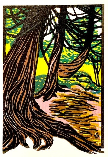 Cedars on the River, woodcut print by Betsy Bowen. Sculptor Ron Piercy is a guest at her studio and will be working on a sculpture in front of the studio during the tour.