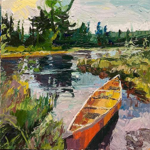 More thick paint and my lovely canoe by David Gilsvik.