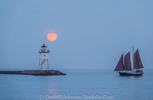 A full-moon evening by David Johnson.