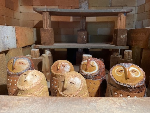 The owls are waiting. Ceramic sculptures by Lee and Dan Ross.