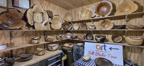 Woodturner Lou Pignolet is ready for the Fall Studio Tour. For maps and more info, click here.