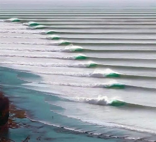 Sacred Geometry by Michael Robinson. This photograph was taken on the Peruvian coast. It's a Chicama wave in the world protected by law. Nothing can be build with a radius of 2 km of this place, so this wave formation will not be disturbed.,