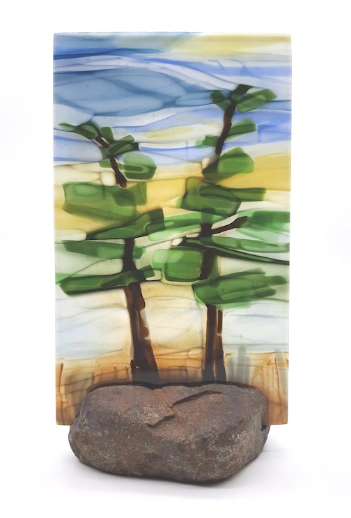 Nancy Seaton's fused glass piece, White Pines, is one of the works she will be exhibiting during the Art Along the Lake, Fall Studio Tour, which is Sept.24-Oct. 3 this year. Seaton's work will be exhibited at Hungry Jack Outfitters on the Gunflint Trail. For more info and to see the participating artists, click here.