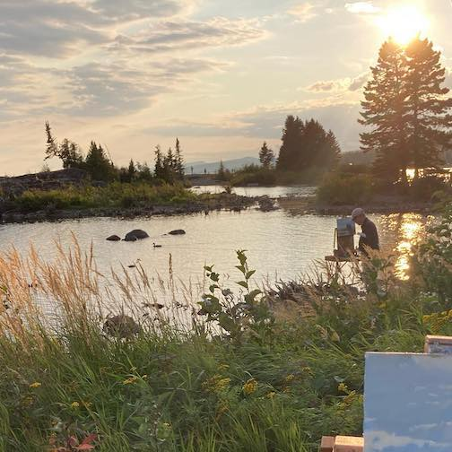 Painting with my buddy, Richard Abraham, in Grand Marais by Neil Sherman.
