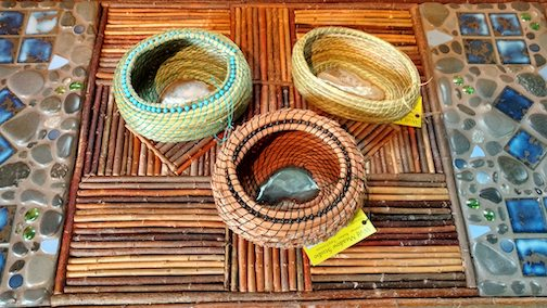 Paula Sundet has been working on new sweetgrass and pine needle baskets. Her studio, Wolkf Meadow Studio, is located at 503 Caribou Trail in Lutsen.