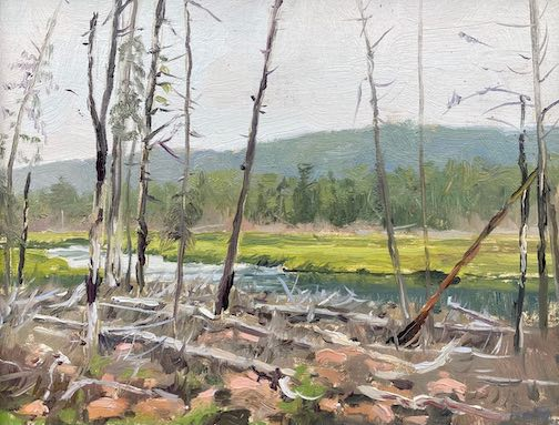 """""""The Flowage,"""" oil, by Neil Sherman. His studio is in Colville. This painting is currently on view at the Johnson Heritage Post as part of the Grand Marais Plein Air Exhibit. It won an Exceptional Merit Award. During the Fall Studio Tour, he often hangs his paintings on the outside walls of his cabin."""