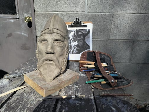 Getting close to finishing my bust of Erik the Red. My mentor, John Franz is working on Hemingway for the Stations of Inspiration Trail project. Sculpture by Tor Torkildson.