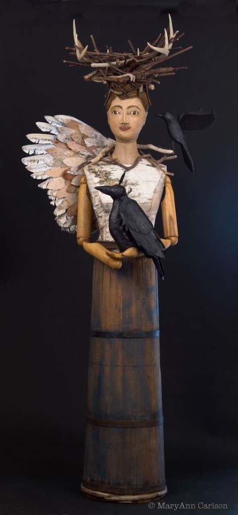 Mary Ann Carlson's sculpture, Raven's Gifts, is one of the pieces in the exhibit at the Duluth Art Institute.