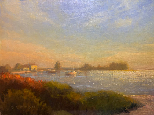 Glistening Harbor by Bob Upton. Upton was awarded the Poem award in the Grand Marais Plein Air Competition.