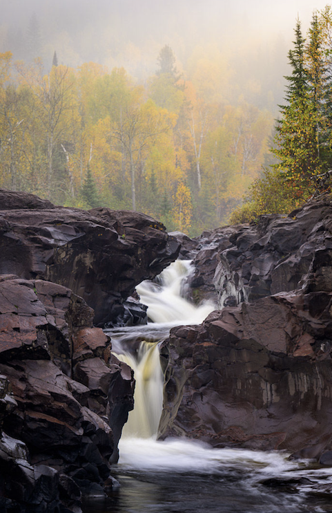 Fall color and falls by Bryan Hansel.