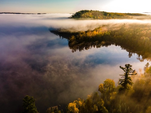 Fog on Hungry Jack Lake by Dennis Chick.