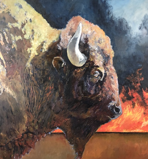 Lost Buffalo, giclee print by Joel Lewis. It is currently on view, with many of his other paintings,  in the corridor of the North Shore Hospital.