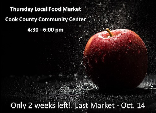 The Thursday Local Food Market will be held in the parking lot of the Community Center from 4:30-6 p.m. on Thursday. The market ends for the season on Thursday, Oct. 14.