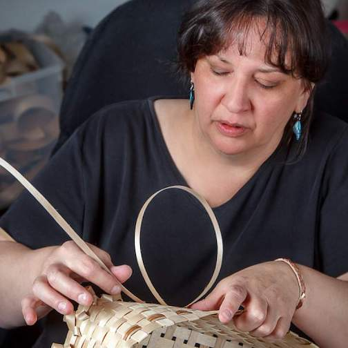 Kelly Church, fifth-generation Potawatomi/Odawa/Ojibwe basket maker and educator from southwestern Michigan, and a National Endowment for the Arts National Heritage Fellow, along with many other honors, is the featured artist for Basket Week at North House Folk School.